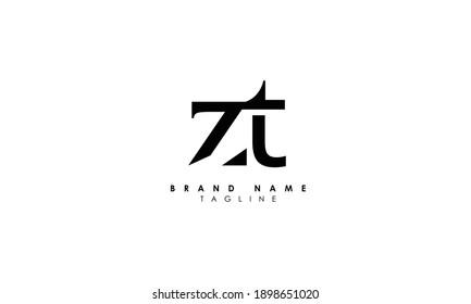 Alphabet letters Initials Monogram logo ZT, TZ, Z and T