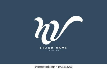 Alphabet letters Initials Monogram logo NV, VN, N and V, Alphabet Letters NV minimalist logo design in a simple yet elegant font, Unique modern creative minimal circular shaped fashion brands