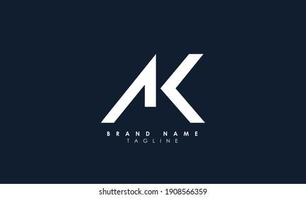 Alphabet letters Initials Monogram logo AK, KA, A and K, Alphabet Letters AK minimalist logo design in a simple yet elegant font, Unique modern creative minimal circular shaped fashion brands