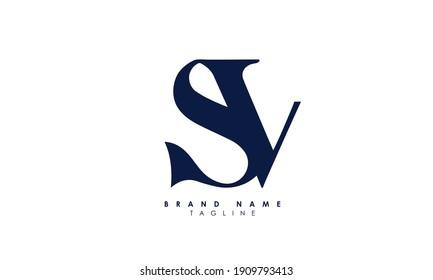 Alphabet letters Initials Monogram logo SV, VS, S and V