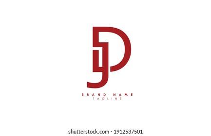 Alphabet letters Initials Monogram logo JD, DJ, J and D, Alphabet Letters JD minimalist logo design in a simple yet elegant font, Unique modern creative minimal circular shaped fashion brands