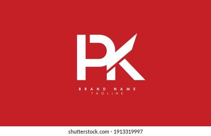 Alphabet letters Initials Monogram logo PK, KP, P and K, Alphabet Letters PK minimalist logo design in a simple yet elegant font, Unique modern creative minimal circular shaped fashion brands