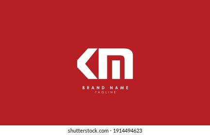 Alphabet letters Initials Monogram logo, MK, K and M, Alphabet Letters KM minimalist logo design in a simple yet elegant font, Unique modern creative minimal circular shaped fashion brands