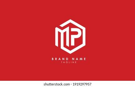 Alphabet letters Initials Monogram logo MP, PM, M and P