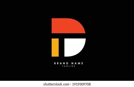 Alphabet letters Initials Monogram logo TD, DT, T and D