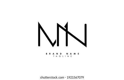 Alphabet letters Initials Monogram logo MN, NM, M and N