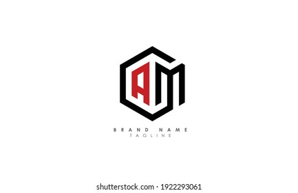 Alphabet letters Initials Monogram logo AM, MA, A and M