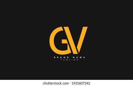 Alphabet letters Initials Monogram logo GV, VG, G and V