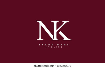 Alphabet letters Initials Monogram logo NK, KN, N and K
