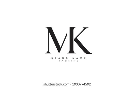 Alphabet letters Initials Monogram logo MK, KM, M and K