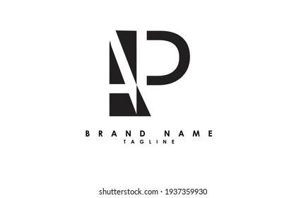Alphabet letters Initials Monogram logo AP, PA, A and P