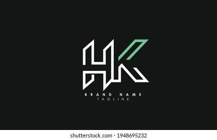 Alphabet letters Initials Monogram logo HK, KH, HK and Y