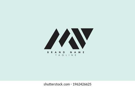 Alphabet letters Initials Monogram logo MV, VM, V and M