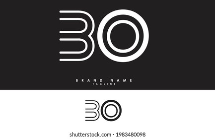 Alphabet letters Initials Monogram logo BO, OB, B and O