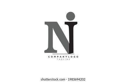 Alphabet letters Initials Monogram logo NI, NI INITIAL, NI letter