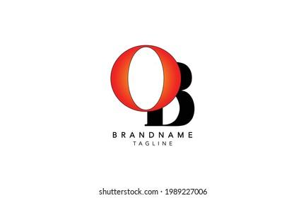 Alphabet letters Initials Monogram logo OB,OB INITIAL, OB letter , O and B