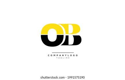 Alphabet letters Initials Monogram logo OB, OB INITIAL, OB letter