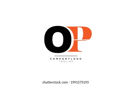 Alphabet letters Initials Monogram logo OP, OP INITIAL, OP letter