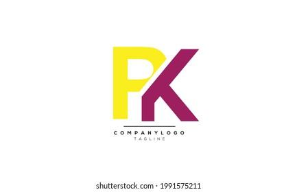 Alphabet letters Initials Monogram logo PK, PK INITIAL, PK letter