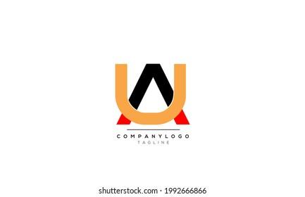 Alphabet letters Initials Monogram logo AU, AU INITIAL, AU letter