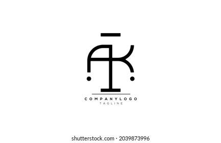 Alphabet letters Initials Monogram logo AK, AK INITIAL, AK letter