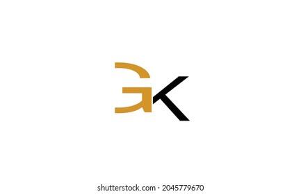 Alphabet letters Initials Monogram logo GK, KG, G and K