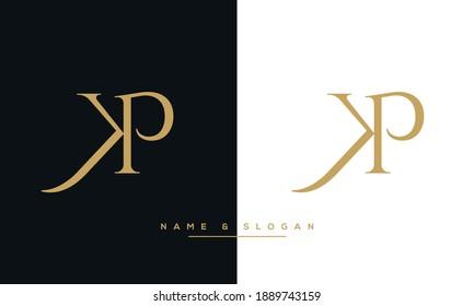Alphabet Letters KP, PK, Abstract Logo Monogram Template