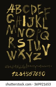 Alphabet letters lowercase, uppercase and numbers. Vector alphabet. Hand drawn letters. Letters of the alphabet written with a paint brush gold on black.