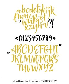 Alphabet letters: lowercase, uppercase, numbers. Vector abc. Hand drown letters. Brush font.