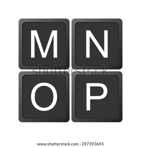 Alphabet Letters M N O P Stock Vector (Royalty Free