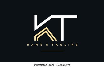 Alphabet letters monogram icon logo of KT,TK,T and K