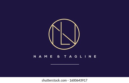 Alphabet letters monogram icon logo LN,NL,L and N