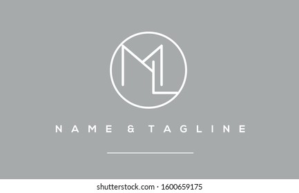 Alphabet letters monogram icon logo of ML,LM,M and L