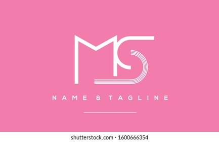 Alphabet letters monogram icon logo of MS
