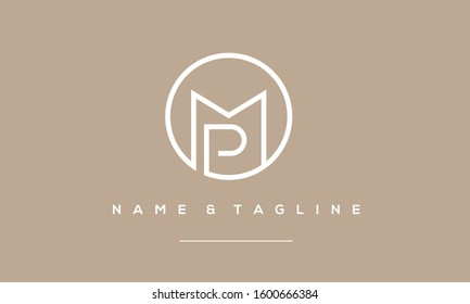 Alphabet letters monogram icon logo of MP,PM,P and M
