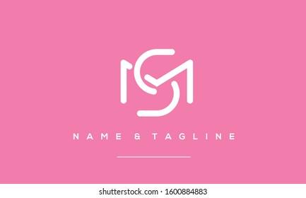 Alphabet letters monogram icon logo of MS,SM,S and M