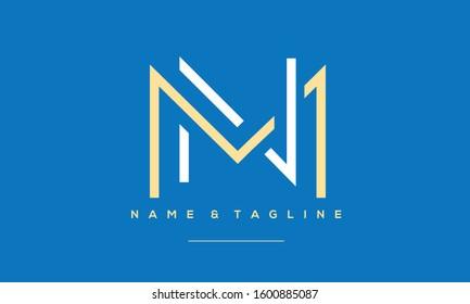 Alphabet letters monogram icon logo of MN or NM