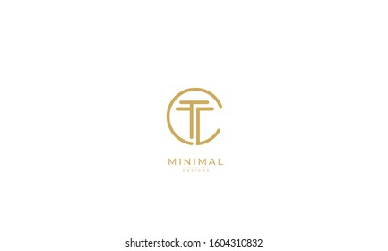 Alphabet letters monogram icon logo of CT or TC