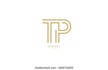 Alphabet letters monogram icon logo TP or PT