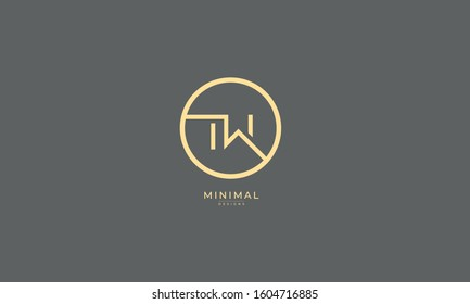 Alphabet letters monogram icon logo TW or WT