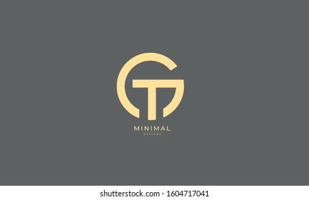 Alphabet letters monogram icon logo GT or TG