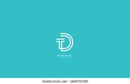 Alphabet letters monogram icon logo TD or DT