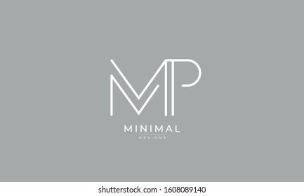 alphabet letters monogram icon logo MP