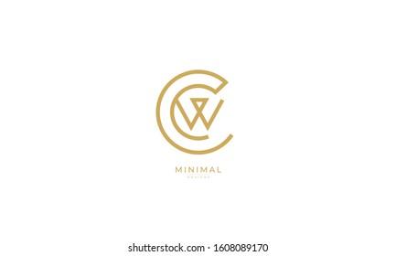 alphabet letters monogram icon logo WC or CW