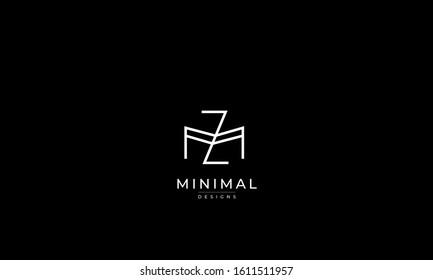 alphabet letters monogram icon logo ZM or MZ