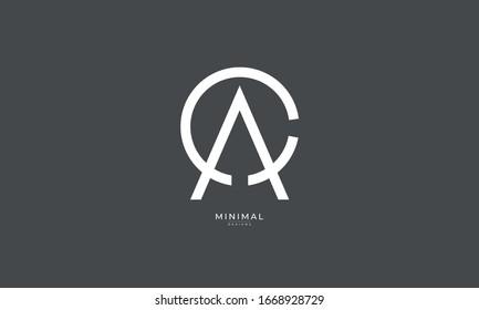 Alphabet letters monogram icon logo CA or AC with a hidden arrow