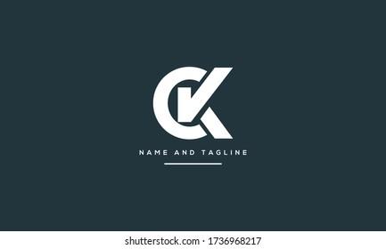 Alphabet letters monogram icon logo CK or KC