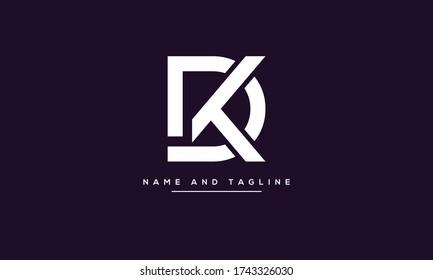 Alphabet letters monogram icon logo KD or DK