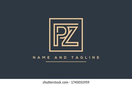 Alphabet letters monogram icon logo PZ or ZP