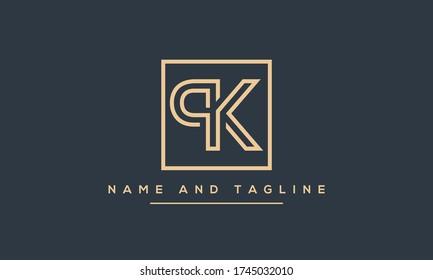Alphabet letters monogram icon logo PK or KP